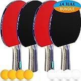 PHIBER-SPORTS Tischtennis-Set - 4 Premium Tischtennisschlaeger + 8 Tischtennis-Bälle + Aufbewahrungstasche + GRATIS EBOOK - Ideal für Anfänger, Familien und Profis, 14-Teilig