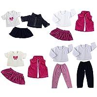 Gazechimp 5 Sistemas de Trajes Ropa Camiseta Pantalones Vaqueros Falda para 18inchs American Girl Muñeca