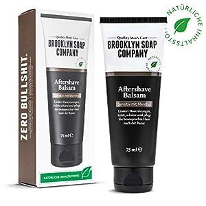 Natürliche Männerpflege: Aftershave Balsam – 75 ML beruhigt die Haut und wirkt antibakteriell Naturkosmetik der BROOKLYN SOAP COMPANY ® Geschenkidee als Geschenk für Männer