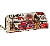 Grand porte-monnaie vintage de Londres - Mot/Etoiles / Portefeuille britannique/Tower Bridge/Bus à deux étages/Cabine téléphonique rouge/Garde royale/Oeil / Big Ben/Union Jack