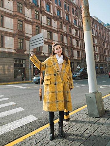 Xuanku Winter England College Wind Double-Breasted Lattice Wolle'S Jacket Women Mittellang Wuko Mantel, M,Gelbe Gitter -