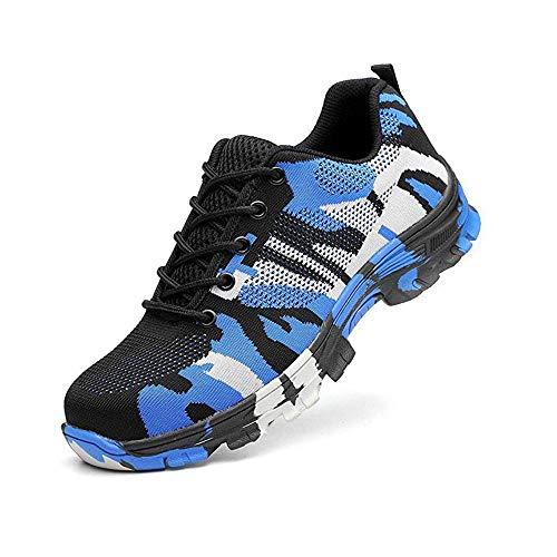 Paio di Scarpe da Lavoro di Sicurezza, Heavy Duty Sneakers, Unisex, Scarpe Antinfortunistiche, Traspiranti, Antiscivolo (Color : Blue, Size : 46)