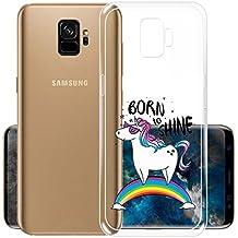 YuAn Custodia per Samsung Galaxy S9 Plus, Arcobaleno Unicorn Trasparente TPU Silicone Morbido Coperchio Protettivo Custodia Bumper Flessibile Skin Case Cover Cassa per Samsung Galaxy S9 Plus