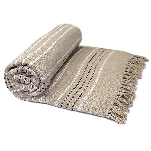 Just Contempo Copriletto/copridivano termico, 100% in cotone tessuto, di lusso, 100% Cotone, naturale (beige chiaro marrone), Coppia
