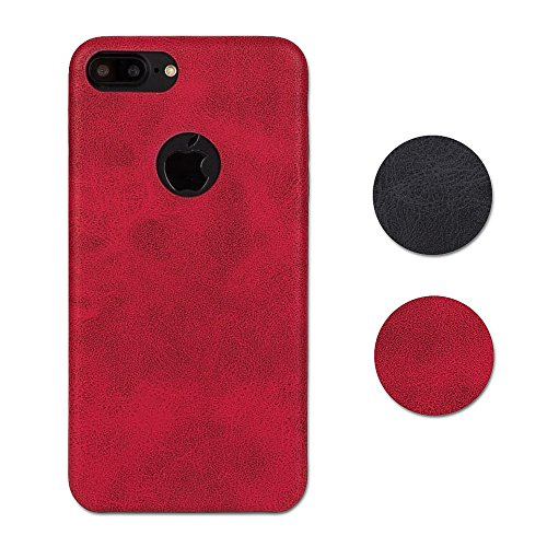 Hetcher Tech Premium Schutzhülle Kunstleder für iPhone 7 Plus und iPhone 8 Plus - Slim Case Cover - PU Hülle Hochwertig Modern Weich in Rot - Backcover Dünn Kunstlederhülle