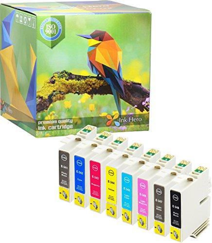 Preisvergleich Produktbild Ink Hero 8-Stück Tintenpatronen Preimum Epson 34 Stylus Photo 2100 2200 T0341 T0342 T0343 T0344 T0345 T0346 T0347 T0348 druckerpatronen patronen