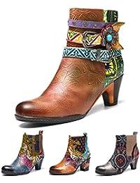 0892922cfec6e Gracosy Bottines Cuir Talons Femmes, Chaussures de Ville Hiver à Talons  Hauts Confortable Boots Bottes