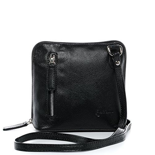 BACCINI Umhängetasche echt Leder Cynthia klein Schultertasche Handtasche mit Schultergurt Damen schwarz