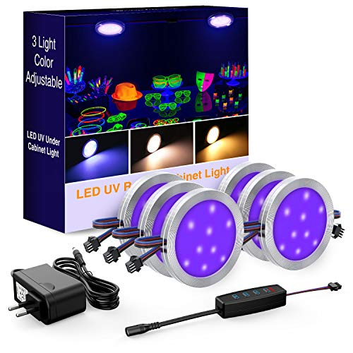 Onforu Schwarzlicht LED Unterbauleuchte mit 3 Farbmodi - UV, Warmweiß, Mischfarbe   10-stufig dimmbare LED Schrankleuchte mit Netzteil   1080lm...