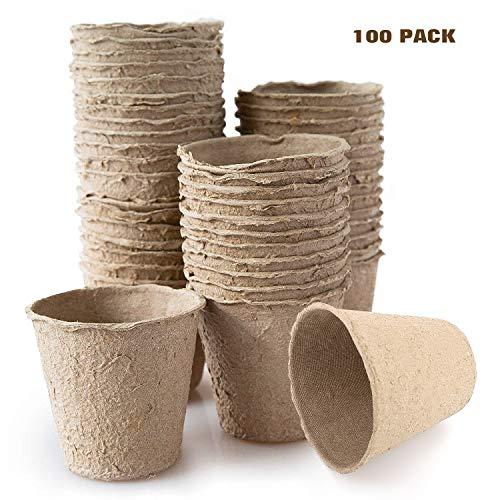 Housolution Pots de Semis en Fibre Biodégradable (100 Pièces) 3 Pouces, Plateau Pour Graines de Jardinage - Kaki