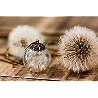 Colgante grande Boho de Diente de León - Joya de estilo Vintage con flores secas naturales - Bola de cristal grande de 30mm - Regalo original - Cumpleaños - - Regalo de Navidad - Black frifday