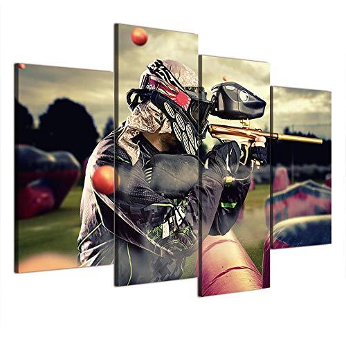 LOVELYJ Leinwanddrucke 4 Panel Paintball Schießen Dekorative Bilder Für Wohnzimmer Schlafzimmer Drucke Leinwand Malerei Wohnzimmer Wand Poster-Rahmenlos