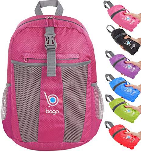 Packable zaino - leggero pieghevole zaino - usa come borsa da viaggio, daypack - si ripiega in e 'tasca interna (pink)