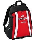 Spalding Basketball Rucksack rot/schwarz/weiß mit Ballnetz und Aufdruck Name