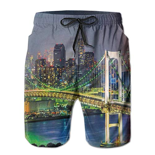 MIOMIOK Mens Beach Shorts Swim Trunks,Tokyo Skyline with Tokyo Tower and Rainbow Bridge Tokyo Japan Night Scenery View Green Navy_2,Summer Cool Quick Dry Board Shorts Bathing SuitXL
