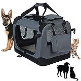 CX-Shun Hundebox Faltbar Transportbox Auto Reisebox Katzenbox mit Hundedecke Grau 060002