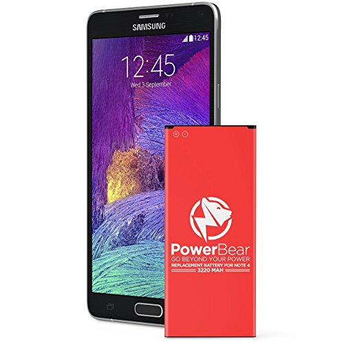 PowerBear® kompatibel für Note 4 Batterie [3200 mAh] Li-Ion Ersatzbatterie für das Samsung Galaxy Note 4 [N910, N910C, N910F, N910FQ, N910U LTE] Note 4 Ersatzbatterie [24 Monate Garantie] ... (4 Verizon Handy Note Galaxy Für)