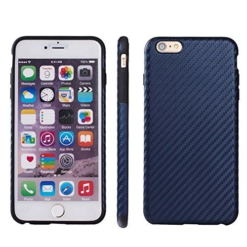 wkae Schutzhülle Schutzhülle und Abdeckung Karbonfaser-Textur TPU Case für iPhone 6& 6S Dark Blue