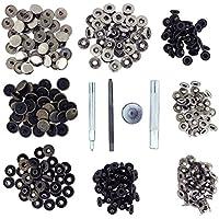 Kurtzy Kit Herramientas Botones de Presión 80 Botones a Presión Plata y Bronce - Herramientas Reparar Fijar Metal para Cuero y Mas - Remaches Rápida Liberación Coser Ropa Cierres Presión