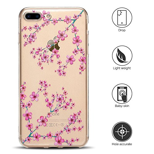 Cover iPhone 7 plus Custodia iPhone 8 plus Silicone Anfire Morbido Flessibile TPU Gel Case Cover per Apple iPhone 8 plus/7 plus (5.5 Pollici) Ultra Sottile Clear Trasparente Copertura Antiurto Protett Prugne