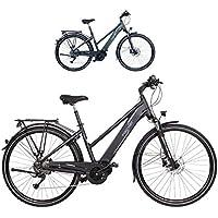 FISCHER Damen - E-Bike Trekking VIATOR 4.0i, schwarz oder grün matt, 28 Zoll, RH 44 cm, Mittelmotor 50 Nm, 48 V Akku im Rahmen