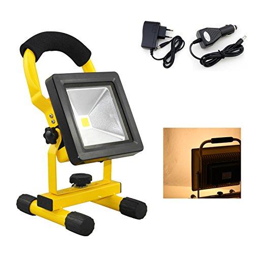 HG® 10W Warmweiß LED Akku Fluter Arbeitsleuchte Baustrahler Handlampe Campinglampe Wiederaufladbare Außenstrahler