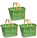 #7: storage basket small plastic box with handle ,plastic basket plastic picnic basket (3 pcs) (Green)