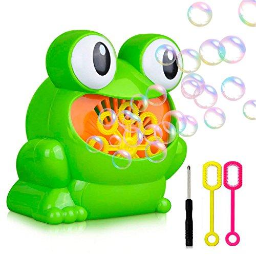 xjsm Bubble Maschine, automatisches Frosch Blase Gebläse Maschine Machen über 500Blasen Pro Minute für Kinder Geburtstag, Hochzeit, Innen- und Spiele, 2Flaschen 4.2FL Unze Bubble Lösung Enthalten