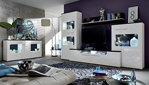 Dreams4Home Wohnkombination 'Palma A', Wohnwand, Anbauwand, Schrankwand, Kombination, Wohnzimmerschrank, Wohnzimmer, (B/H/T) ca. 310 x 198 x 47 cm, in weiß Hochglanz / schwarz Dekor, Beleuchtung:mit Beleuchtung;Ausführung:mit Glas-TV-Bühne - 2