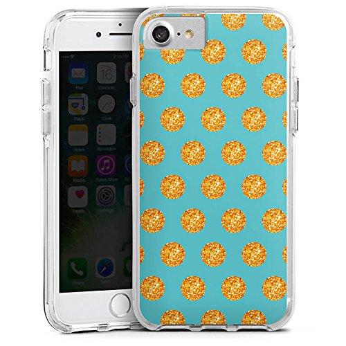 Apple iPhone 6s Plus Bumper Hülle Bumper Case Glitzer Hülle Gold Kreise Muster Pattern Bumper Case transparent