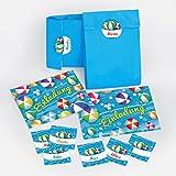 12 Einladungskarten incl. 12 Umschläge und 12 Party-Tüten mit 12 Aufkleber zum Kindergeburtstag Schwimmbad Party Wasserbälle für Mädchen und Jungen / Pool Party / bunte Einladungen zum Geburtstag (12 Karten + 12 Umschläge + 12 Party-Tüten + 12 Aufkleber)
