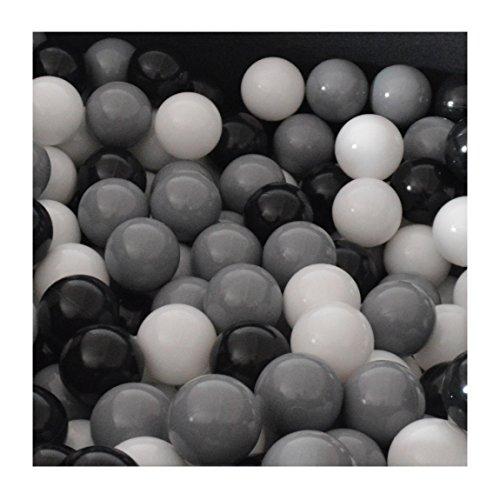 100 Bälle 7 Ø Bällebad viele bunte Farben Baby Kind Spielbälle Kugelbad Ø 7cm Blau Türkis Grau Pink Rosa Schwarz Weiß (Schwarz, Grau und Weiß)