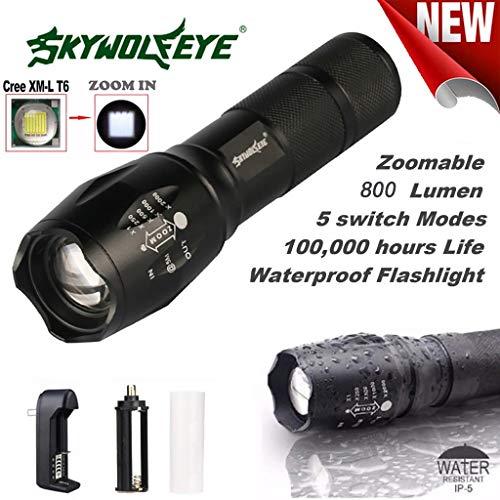 VijTIAN T6 Linterna de enfoque telescópica LED A100 con zoom de 800...
