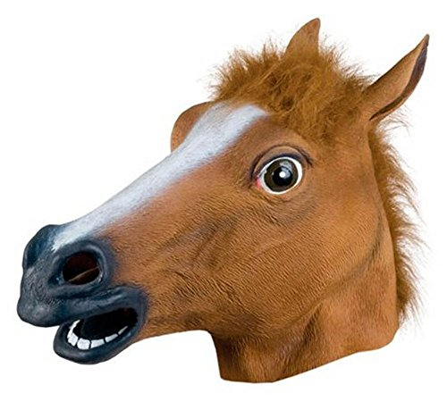 Kentop Pferdemaske Latex Pferde Maske Tiermaske Erwachsene Pferdekopf Maske Halloween Kostüm für Halloween Weihnachten Party ()