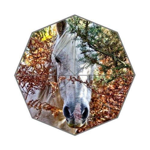 Generic Easy Carry mit Auto Faltbare Rainy/Sunny Geschenke Tragetaschen Kompakte Regenschirm–weiß Pferd Kopf Close Up authentisches Design