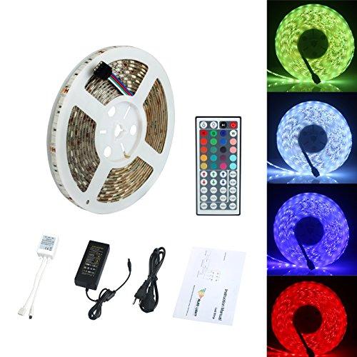 ALED LIGHT® Striscia LED SMD 5050 RGB 5M 300 LED Impermeabile IP65 Con DC 12V Alimentatore+ 44 Tasti Telecomando+ Ricevitore