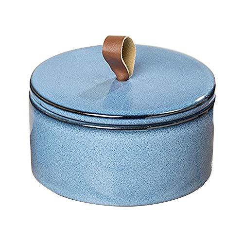 Bo Vorratsdose Retro blau Design mit Deckel Porzellan Dose Küchendeko 15 cm