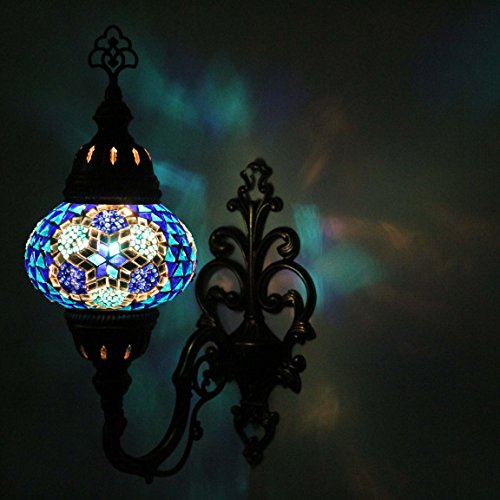 Wall Light Turkish Mosaic Sconce Lamp, Stunning Moroccan Style Handmade with large size (14 cm) Glass Globe by TK Bazaar (Andalusite)