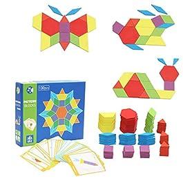 Afunti Blocchi di Legno Classico educativo Giocattoli Montessori Set di Tangram per Bambini con 130