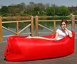 Badass Sharks Aufblasbare Liege Air Sofa-Parteien, hochwertiges Nylon-Sofa mit integriertem Kissen, tragbarer Sofa Couch für Wandern Camping Strand, rot