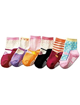 Baby Girls Kids 6-Pack MARY JANE Anti-slip Ankle Socks (SET K) - ONE SIZE (Suitable for 1 to 3 years old)