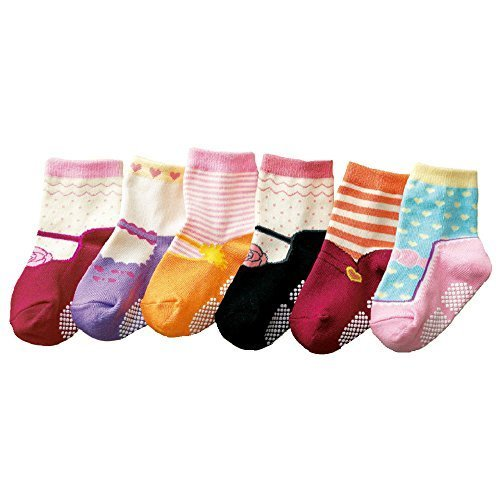 Baby-Girls-Kids-6-Pack-MARY-JANE-Anti-slip-Ankle-Socks-SET-K-ONE-SIZE-Suitable-for-1-to-3-years-old