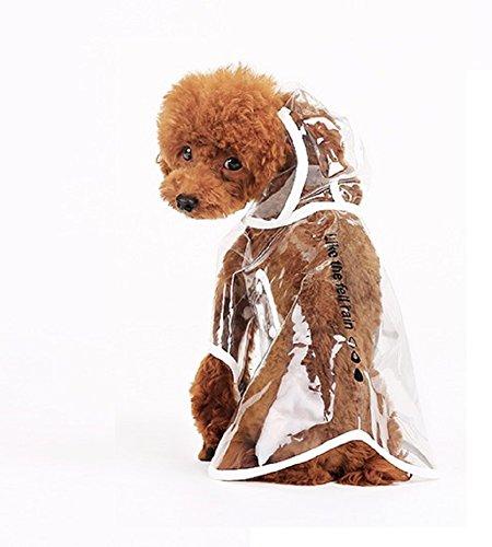 Ducomi® Dogalize - Impermeabile con Cappuccio in Nylon Trasparente per Cane - Cappottino Antipioggia Modello Poncho per Cani (White, L)