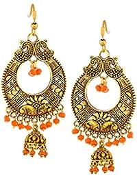 9d00922a7 VAMA FASHIONS Oxidised Gold Chandbali Jhumki In Crystals & Pastel Colours