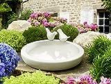 Vogeltränke rund, weiß gesprenkelt aus Keramik lasiert Ø ca. 31cm
