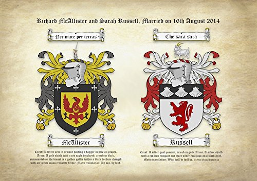 a4-printed-double-coat-of-arms-family-crests-on-ancient-parchment-weddings-anniversaries