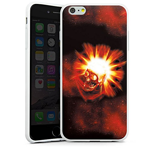 Apple iPhone X Silikon Hülle Case Schutzhülle Totenkopf Schädel Licht Silikon Case weiß