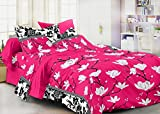 #7: Homefab India 3D 140 TC Polycotton Double Bedsheet with 2 Pillow Covers - Floral, Pink