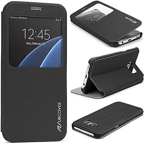 Urcover® Samsung Galaxy S7 Edge | View Case Funda Protectora | Cross Pattern en Negro | Carcasa Protección Completa Case Cover Smartphone Móvil Accesorio
