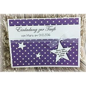 Einladung Einladungskarte Sterne Taufe Jugendweihe personalisierbar lila
